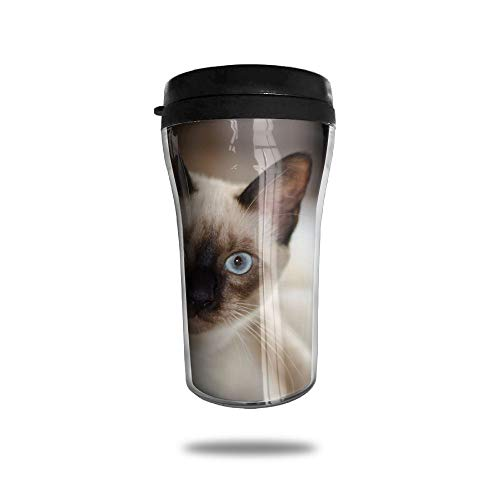 (FTRGRAFE White Siamese Cat Travel Coffee Mug 3D Printed Portable Vacuum Cup,Insulated Tea Cup Water Bottle Tumblers for Drinking with Lid 8.54 Oz (250)