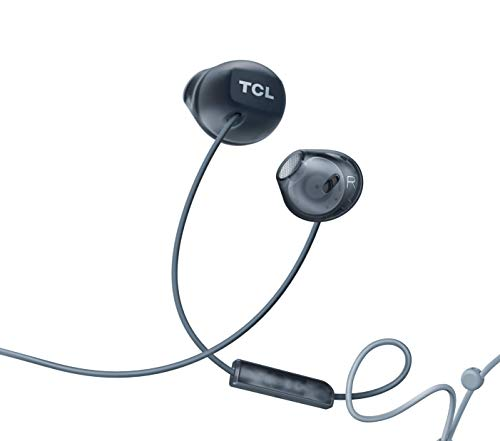 TCL Socl200 in-Ear Earbuds Wired Headphones with 12.2mm Speaker Drivers for Rich Bass and Clear Sound, Built-in Mic – Phantom Black