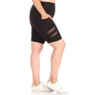 ShoSho Womens Plus Size High Waist Biker Shorts Tummy Control Yoga Bottoms W/Pockets & Side Mesh Panels Black 2X