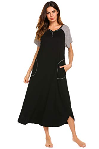 66f4e52521d Ekouaer Womens Ultra-Soft Full Length Sleepwear V-Neck Night Dress (Black,