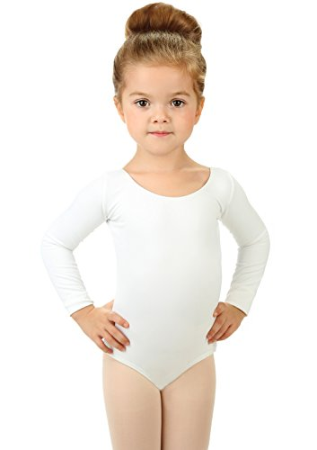 Elowel Girls' Team Basics Long Sleeve Leotard White (Long Sleeve White Leotard Girls Costumes)