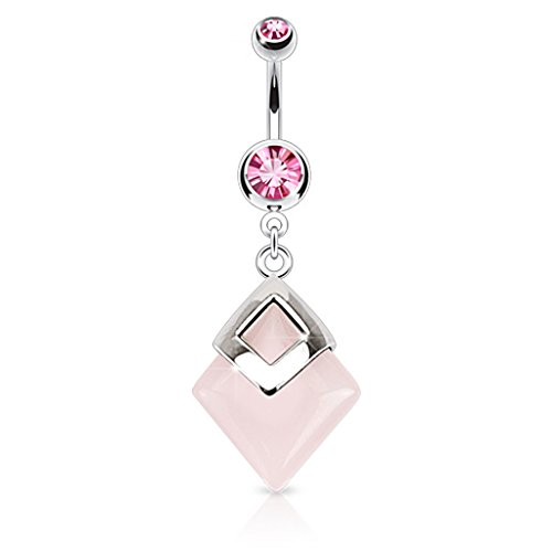Rose Quartz Diamond Shaped Semi Precious Stone Mounted 316L Surgical Steel Belly Button Ring
