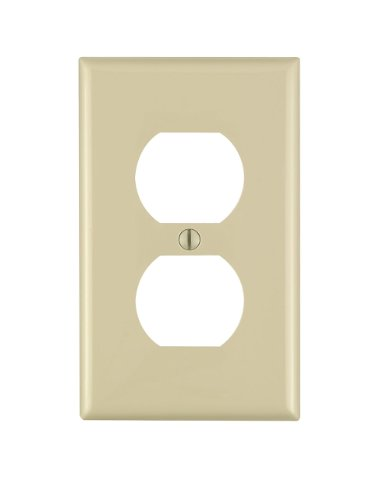 Leviton 80703-I 1-Gang Duplex Device Receptacle Wallplate, Standard Size, Thermoplastic Nylon, Device Mount, ()