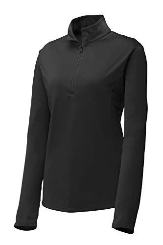 Clothe Co. Women's Athletic Performance 1/4-Zip Pullover,Black,M