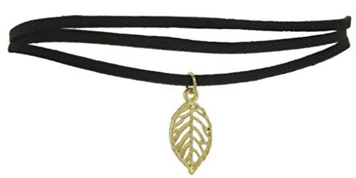 Ganz Gold-Tone Leaf Choker Necklace on 3 Strand Black Suede (Gold Tone Black Cord)