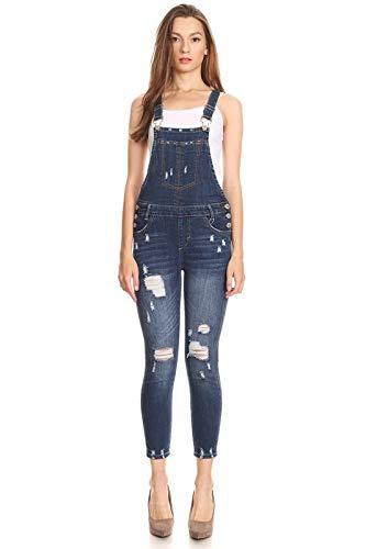 Instar Mode Women's Ripped Denim Bib Overall Jumpsuit Skinny Distressed Long Rompers Dark Denim S ()