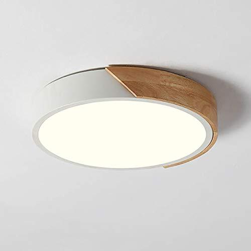 NOVO Light Ceiling Light Dimmable 19inch Modern Minimalist LED Round Shaped Wood & Metal & Acrylic Flush Mount Ceiling Light White