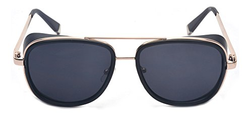 d173e7103fa Amazon.com  Outray Unisex Cover Side Shield Square Sunglasses A15 Black   Clothing