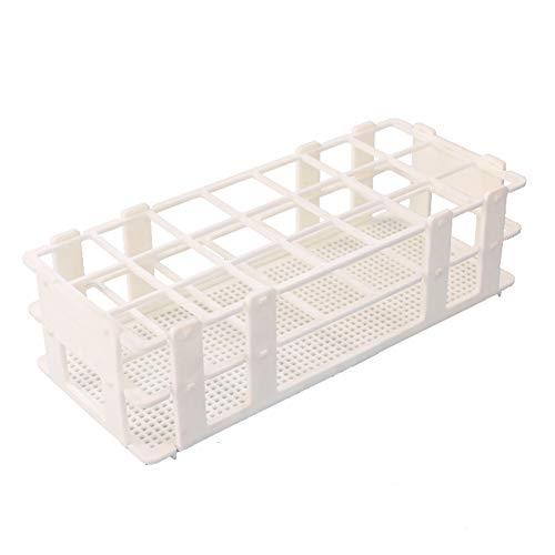 (BIPEE Plastic Test Tube Rack for 30mm Tube, 21 Well, White,Detachable (21 Hole))