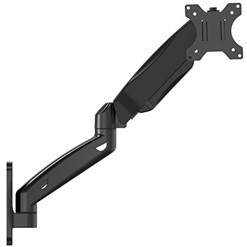 WALI Single LCD Monitor Fully Adjustable Gas Spring Wall Mount Fits 1 Screen VESA up to 27 inch, 14.3 lbs. Weight Capacity, Arm Max Extension 17