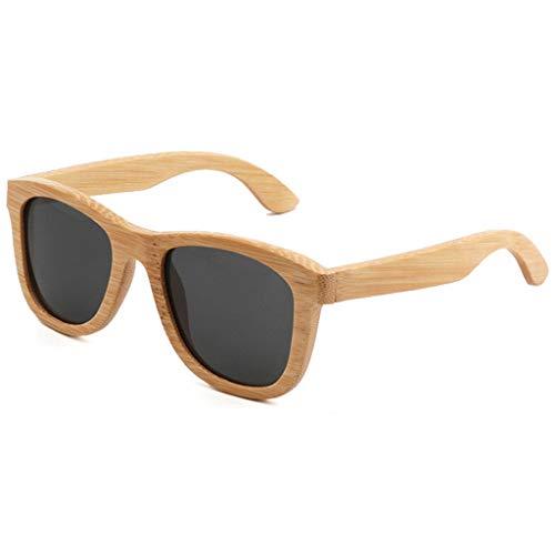 Polarizadas Color Gafas Revestidas Oscuro Gafas Moda de bambú Vendimia La Gafas Hechas De Unisex de Gafas Marron de Madera A Bambú sol Gray Mano ZwBPR4