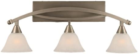 Toltec Lighting 173-BN-505 Bow Three-Light Bathroom Bar Brushed Nickel Finish with White Marble Glass, 7-Inch