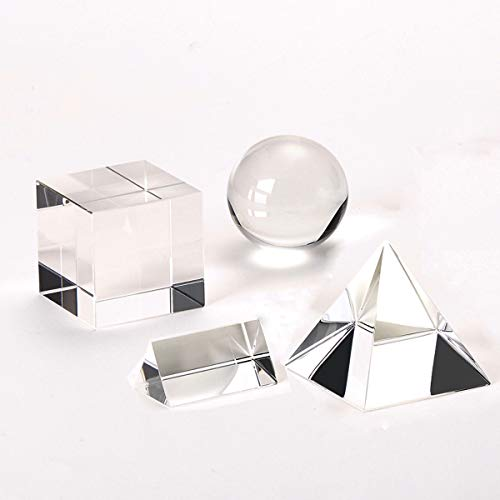 Optical Crystal Prism Photography Set 4 Pack K9 Glass Prisms for Science - 50mm Photography Ball - 50mm Dichroic Prism Cube - 50mm Triangular Prism - 60mm Optical PyramidGift Box& Wipe Cloth