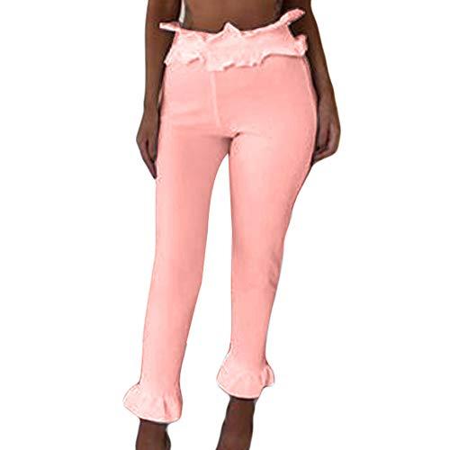 S Skinny Donna Pantalone Vita Alta Pantalone Elastica Dragon868 Moda Rosa XL Vita Con Volant 4qPxA5Tg