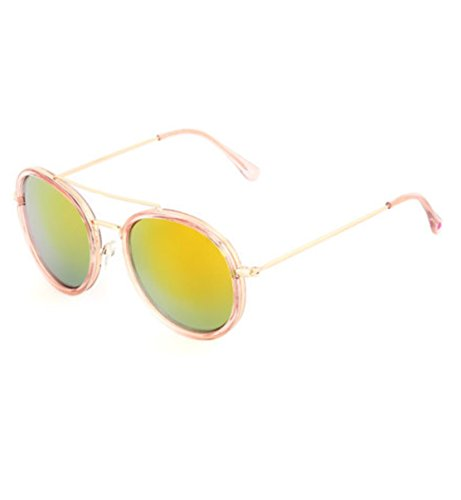 Betsey Johnson Rose Gold Retro Tinted Round - Rose Round Tinted Sunglasses