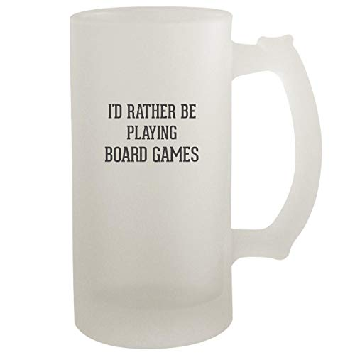 I'd Rather Be Playing BOARD GAMES - Frosted Glass 16oz Beer Stein (Market Farmville)