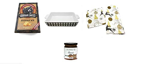 (Whole Grain Chocolate Chip Blondie Mix & Salted Caramel Sauce Bakers Gift Set with a Stoneware Baking Dish, Potholder & Kitchen)