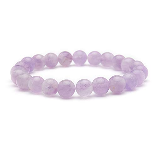 Bivei Natural Amazonite Malachite Kyanite Aquamarine Gem Semi Precious Gemstone Round Beads Crystal Stretch Bracelet(Lavender Jade) ()