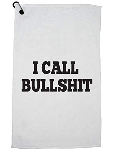 (Hollywood Thread I Call Bullshit - Funny Large Print Graphic Golf Towel with Carabiner Clip)