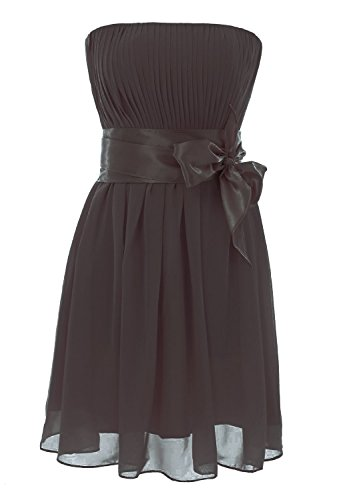 Schulterfrei Damen Party Kurz Black Wedding Dress Brautjungfernkleides Chiffon Fanciest w75q4w