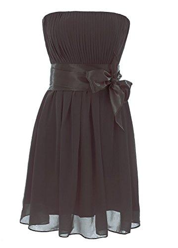 Schulterfrei Chiffon Dress Black Damen Kurz Party Wedding Brautjungfernkleides Fanciest pqZUfn1w