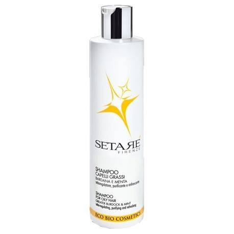 SETARÈ Fat Hair Shampoo - Bardana and Mint Seboregolator - Purifying & Refreshing - Icea Certificate - Nickel Tested - 250 ml
