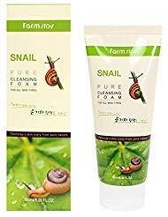 Farm Stay Korean Pure Snail Foam Cleanser [ 180ml / 6.09oz ] 폼클렌징 (Best Korean Facial Cleanser)