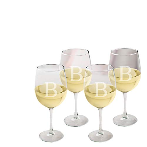 White Wine Monogrammed - Personalized White Wine Glasses - Monogrammed Wine Glass Set of 4