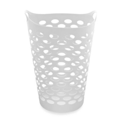 Starplast Tall Flex Laundry Basket In White - Flexible Plastic Basket