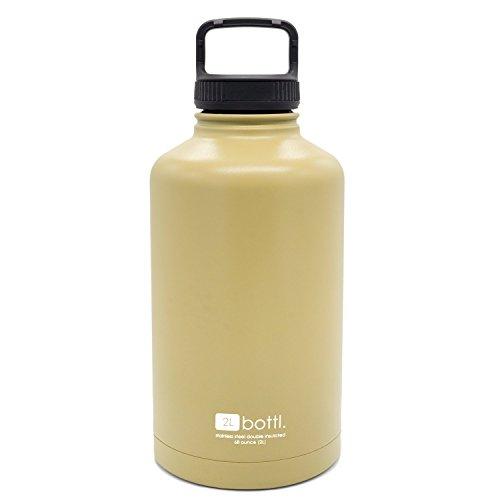 BOTTL - 68 oz Stainless Steel Bottle True 2L Beer Growler Bigger than 64oz water bottle (FDE - Flat Dark (Bigger Water)