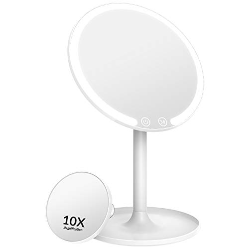 Easehold Rechargeable Lighted Makeup Mirror, 1X/10X Magnifying Vanity Mirror with 42 LED Lights, Light Up Mirror for…