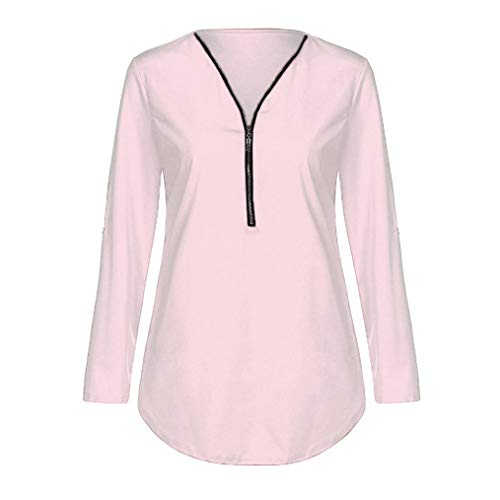 camicetta Pink t collo t shirt tops ® colore donna sciolto V solido Wanshop zipper casual Light shirt donna TqwBAfZ