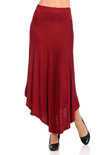 Womens Solid Color One Size Irregular Hem Flowy Handkerchief Hemline Long Skirt (One Size, Burgundy)