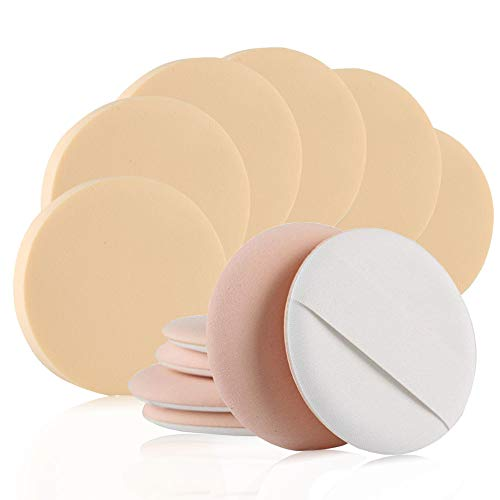 BEAKEY 6+6 Pcs Round Makeup Sponge with Air Cushion Powder Puff, Blending Sponge for Liquid Cream and Powder, Puff for Body and Face, Available for Powder Products, Shading Loose Powder Etc, Non-Latex
