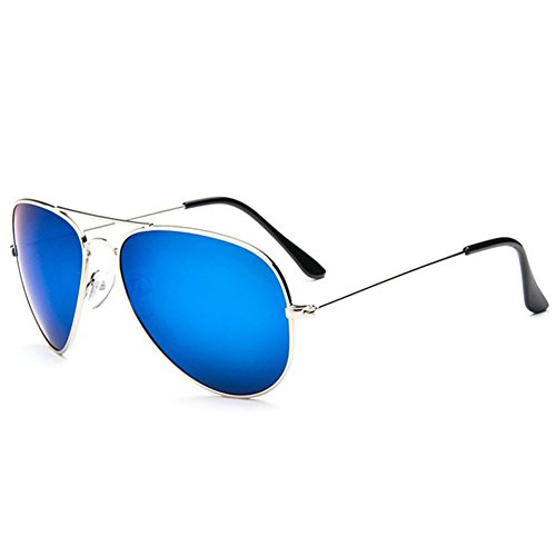 Z-P Unisex Driver Aviator Metal Film Polarized Lens - Ray Blue Mirror Ii Light Aviator