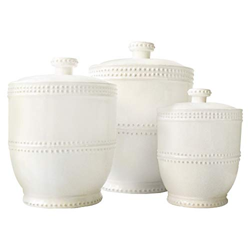 American Atelier 1566905CANRB Bianca Bead Canister Set 3-Piece Ceramic Jars Chic Design With Lids for Cookies, Candy, Coffee, Flour, Sugar, Rice, Pasta, Cereal & More, 18.50x7.75x9.8