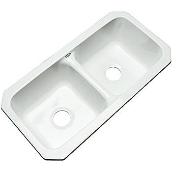 Dekor Sinks D64000UM Englewood 32 Inch Cast Acrylic Double Bowl Undermount  Kitchen Sink, White