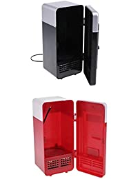 MagiDeal 2 Pieces Portable 5V USB Fridge Heat And Cool Dual Use Refrigerator Black + Red