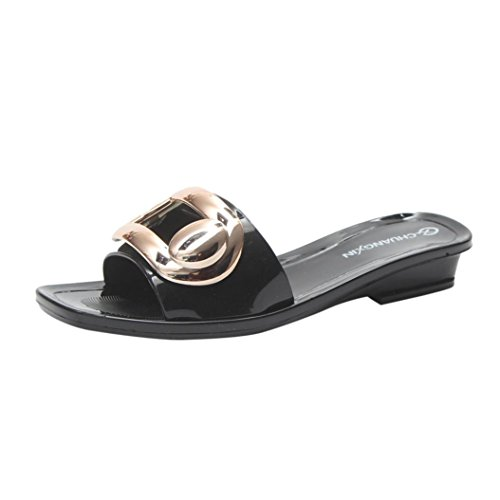 Btruely Damen Flip-Flops Sommer Strandschuhe Elegante Freizeitschuhe Outdoor Schuhe Damen Sandalen Vintage Wasserdicht Hausschuhe Slim Sandaletten Frauen Offene Flach Sandalen Schwarz