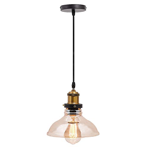 Ganeed Industrial Pendant Light,Adjustable Edison Amber Glass Farmhouse Hanging Light Fixture for Kitchen Island Hotels Hallway Shops Cafe Bar