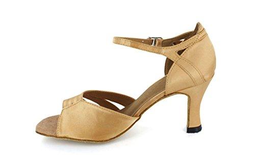 Buckle Rumba Sandals Jazz Vintage Tango Women's Classy Latin TDA Bronze Strappy Samba Dance wPt0Y