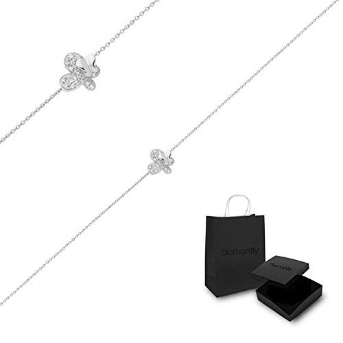 Diamantly - Bracelet or Gris Pendentif Papillon Cristal - or Gris 375/1000 (9 Carats) - Femme - Fille