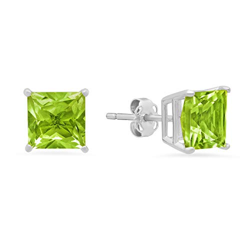14k White or White Gold Solitaire Princess-Cut Peridot Stud Earrings (7mm) ()