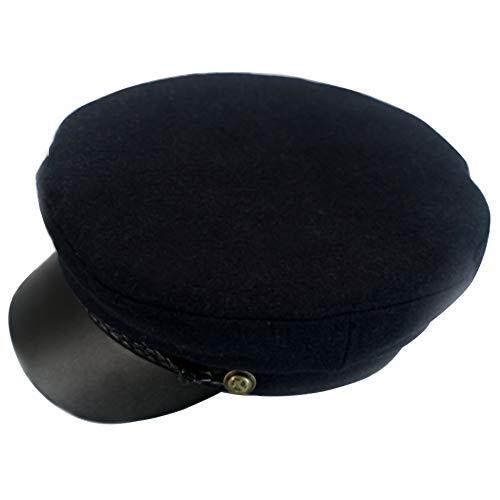 Wool Newsboy Hat,Greek Fisherman Hats Unisex Vintage Cosplay Visor Props Sailor Fiddler Caps Give Thanks Christmas Gifts (Navy Blue) for $<!--$25.98-->