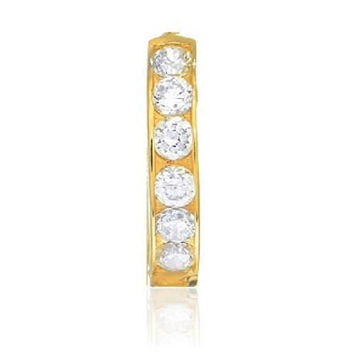 14k Solid Yellow Gold Single Huggie Hoop 2x11mm Cubic-zirconia Channel-set Unisex Earrings 14k Yellow Gold Single