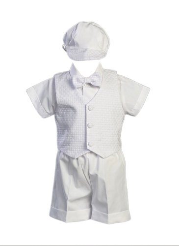 Swea Pea & Lilli Poly Cotton Christening Short Set with Basket Weave Veast and Hat - White Size M (6-12 Months) / 13-17 Pounds