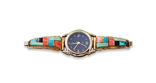 (Firebird Jewelers 12KGF Silver Navajo Turquoise Spiny Oyster Multi Inlay Women's Watch Tips)