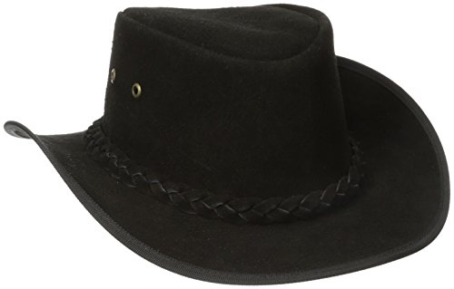 Henschel Rainproof Leather Outback Hat, Black, Large
