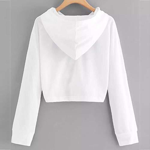 Bianco Felpe Da Top Cappuccio Tumblr Fashion Ragazza Donna Fantasia Con Lunghe Felpa Maniche Vicgrey Casual Elegante Camicetta Donna TqdBvwxd