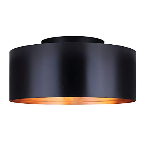 Flush Bronze Shade - Canarm Oxyura 2 Light Flush Mount with Metal Shade - Black/Bronze